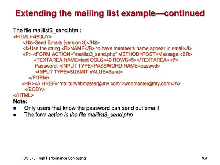 Extending the mailing list example—continued