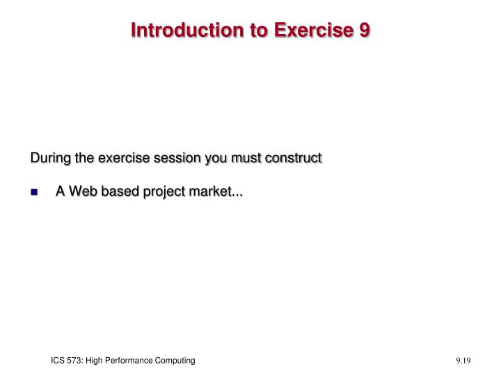 Introduction to Exercise 9