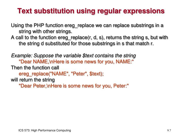 Text substitution using regular expressions