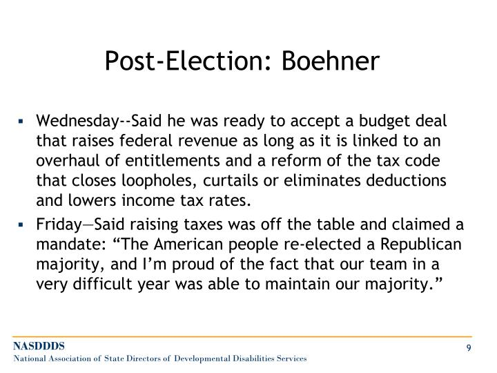 Post-Election: Boehner