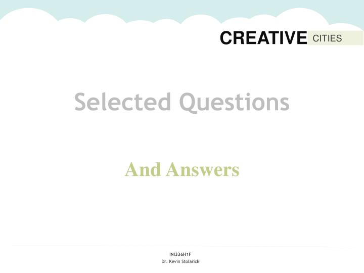 Selected Questions