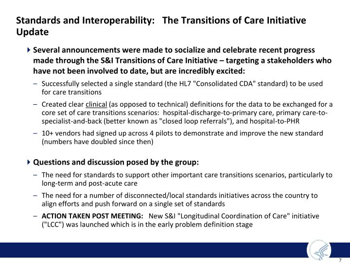Standards and Interoperability:   The Transitions of Care Initiative Update