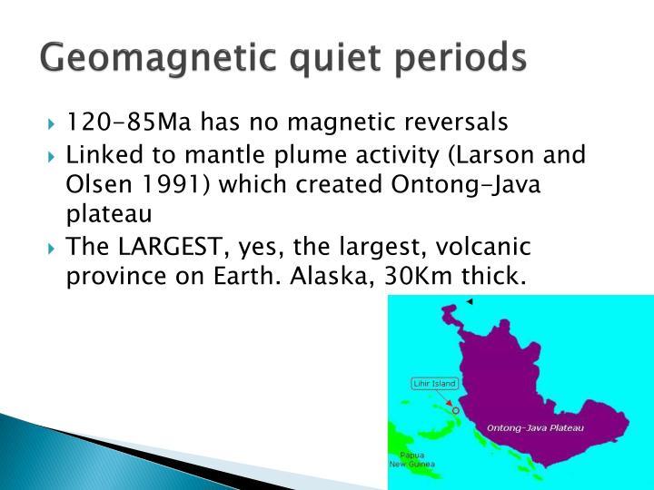 Geomagnetic quiet periods