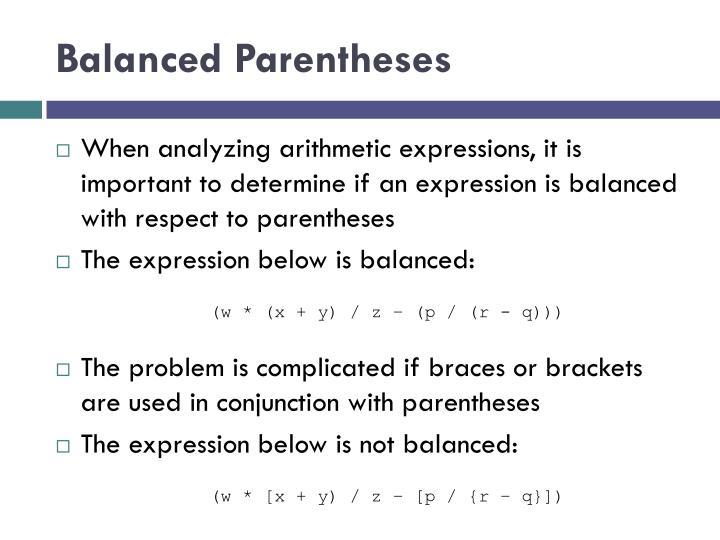 Balanced Parentheses