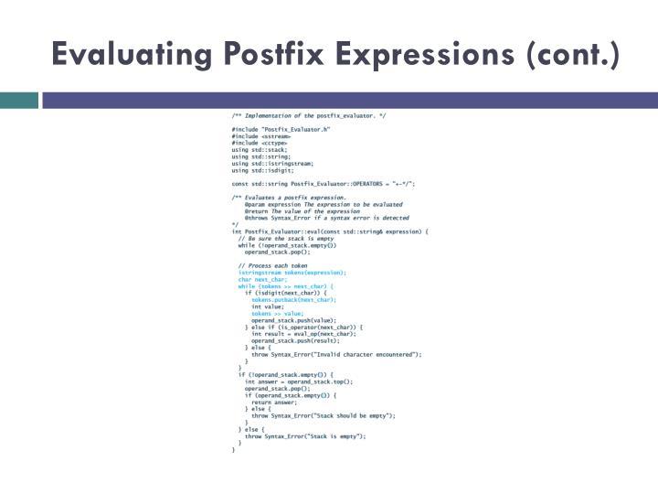 Evaluating Postfix Expressions (cont.)