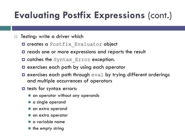 Evaluating Postfix Expressions