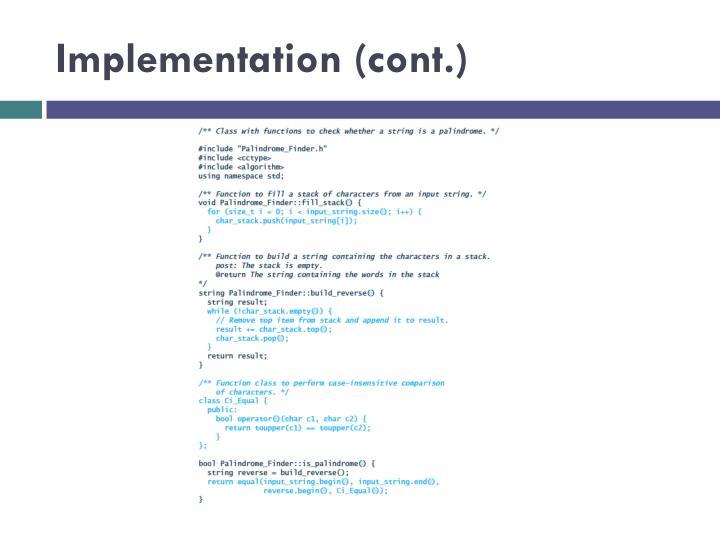 Implementation (cont.)