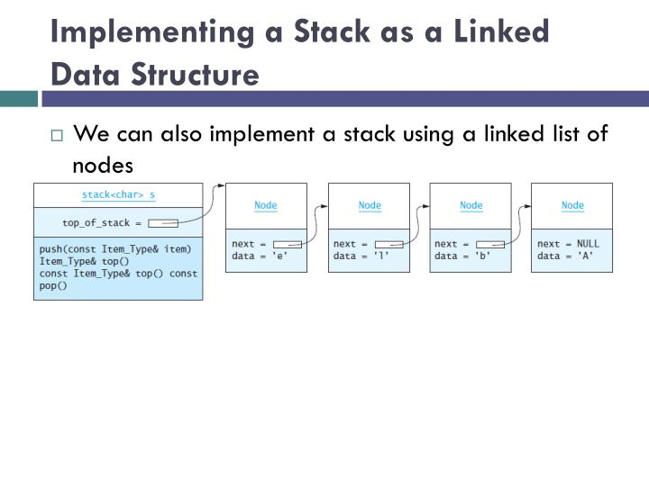 Implementing a Stack as a Linked Data Structure