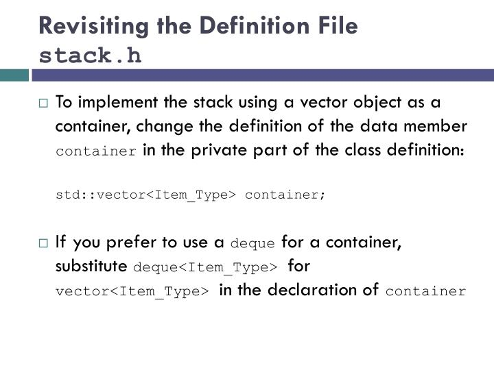 Revisiting the Definition File