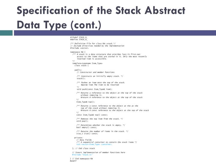 Specification of the Stack Abstract Data Type (cont.)