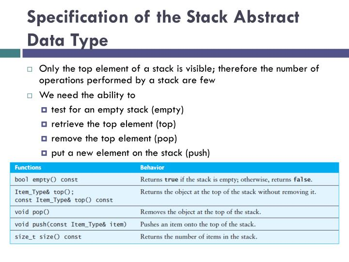 Specification of the Stack Abstract Data Type