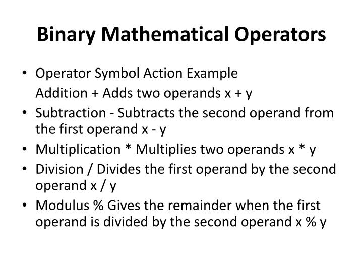 Binary Mathematical Operators