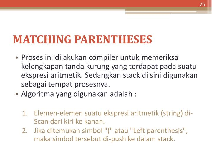 MATCHING PARENTHESES