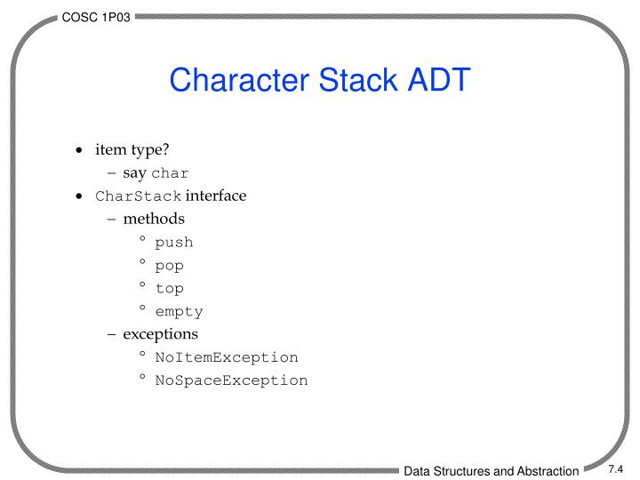 Character Stack ADT