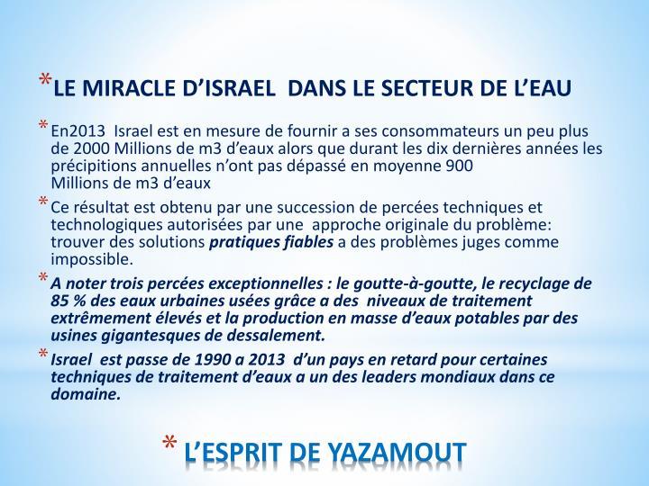 LE MIRACLE D'ISRAEL  DANS LE SECTEUR DE