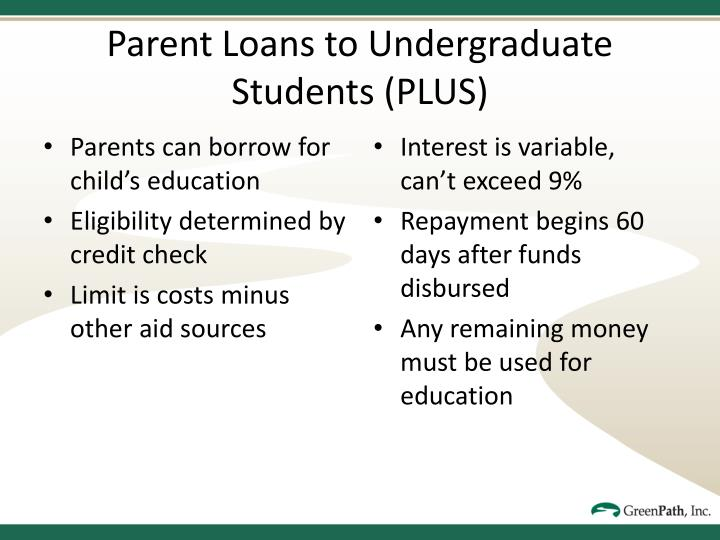 Parents can borrow for child's education