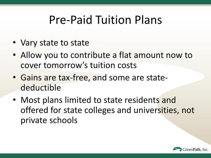 Pre-Paid Tuition Plans