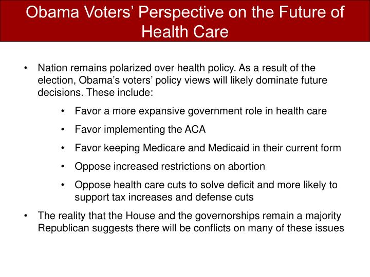 Obama Voters' Perspective on the Future of Health Care