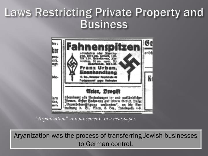 Laws Restricting Private Property and Business