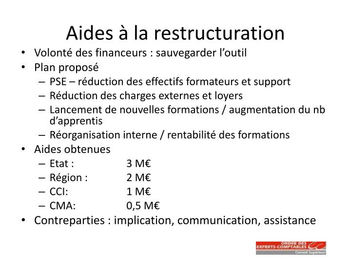 Aides à la restructuration