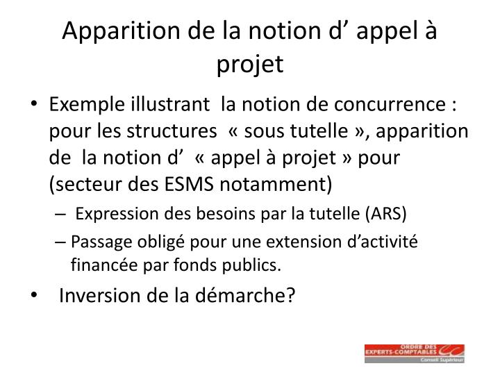 Apparition de la notion d' appel à projet
