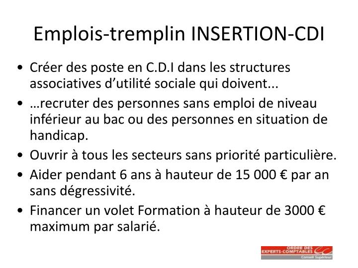 Emplois-tremplin INSERTION-CDI
