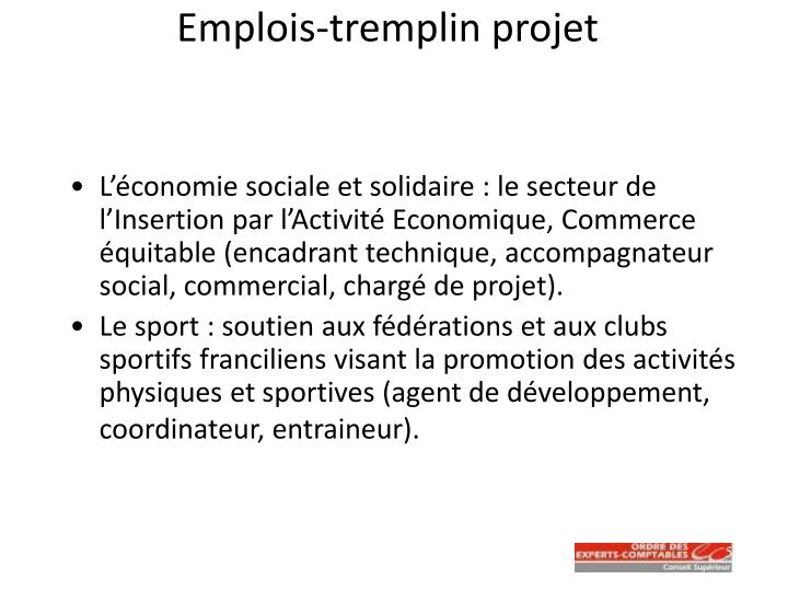 Emplois-tremplin projet
