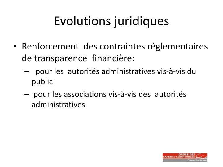 Evolutions juridiques
