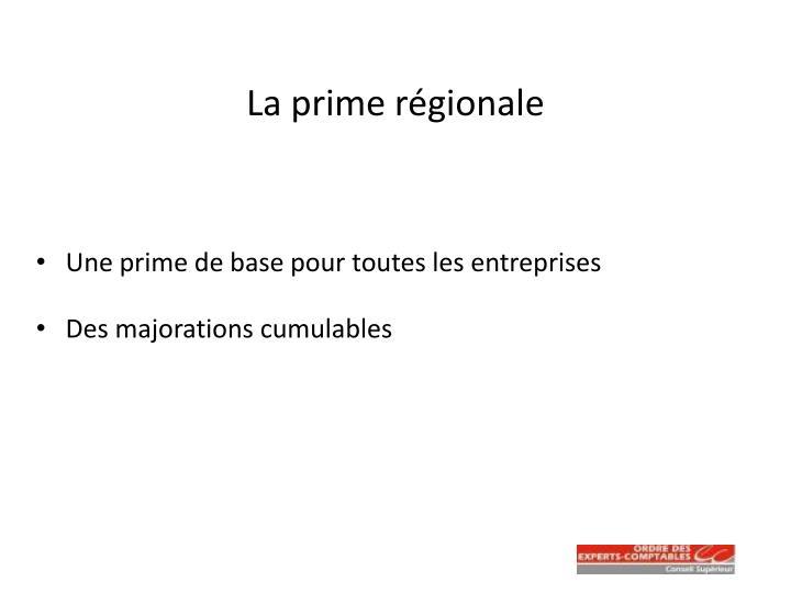 La prime régionale