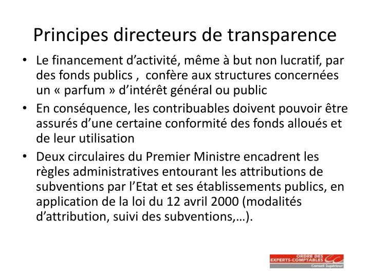 Principes directeurs de transparence