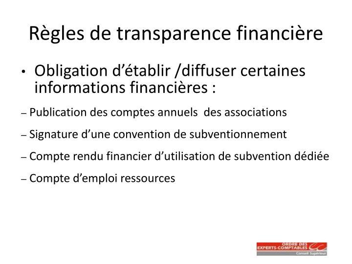 Règles de transparence financière
