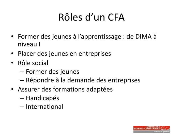 Rôles d'un CFA