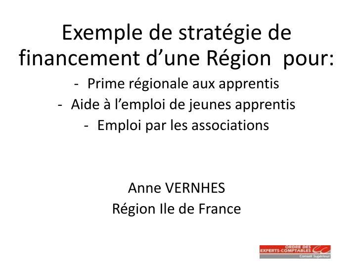 Exemple de stratégie de financement d'une Région  pour: