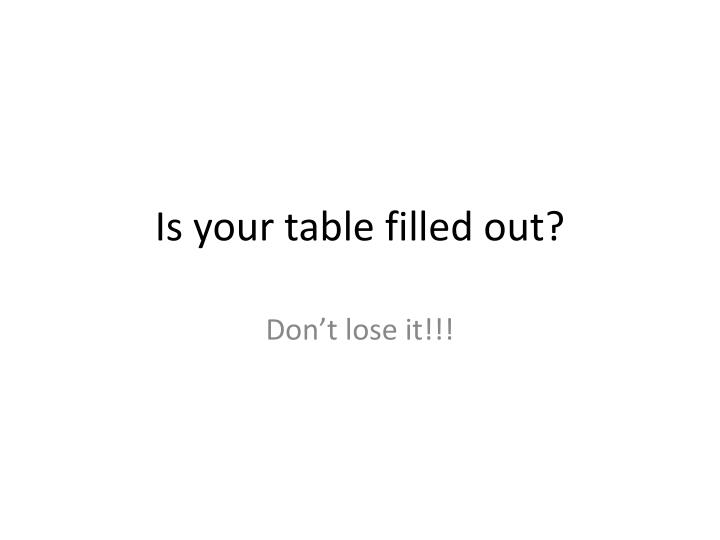 Is your table filled out?