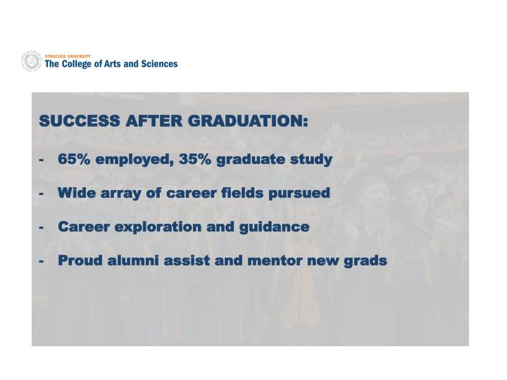 SUCCESS AFTER GRADUATION: