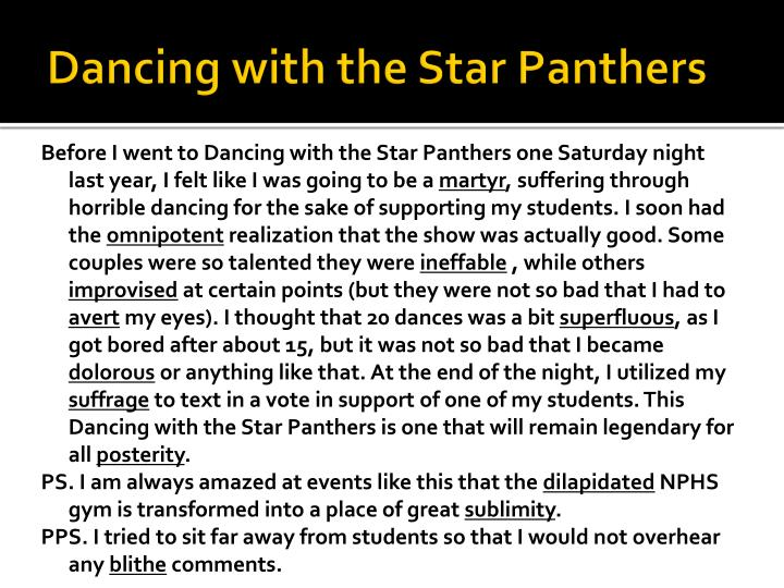 Dancing with the Star Panthers