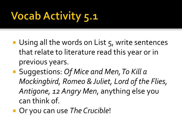 Vocab Activity 5.1