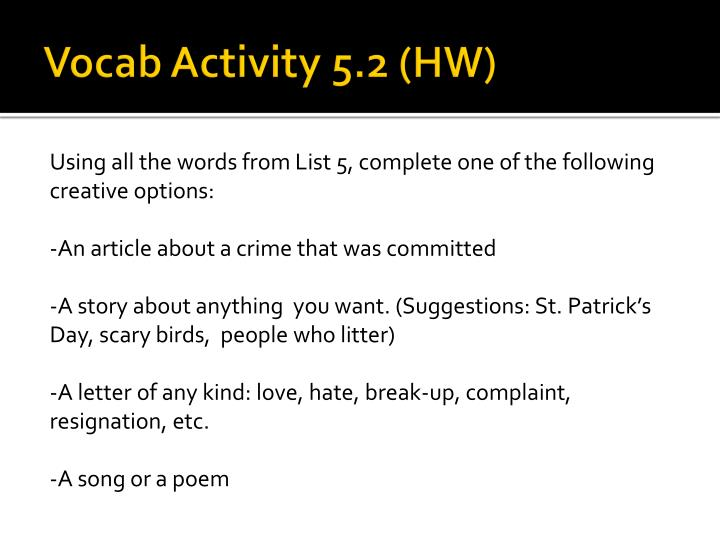 Vocab Activity 5.2 (HW)