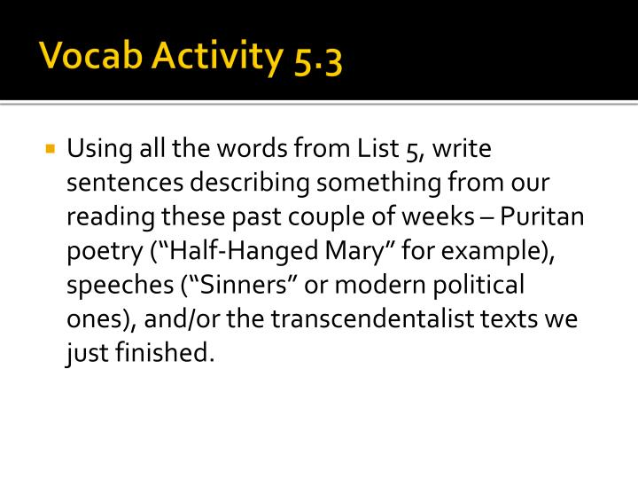 Vocab Activity 5.3