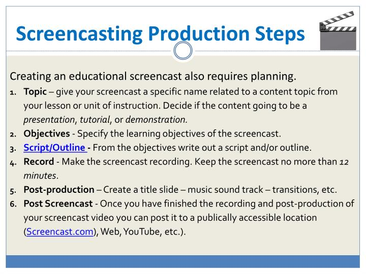 Screencasting Production Steps