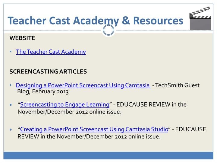 Teacher cast academy resources