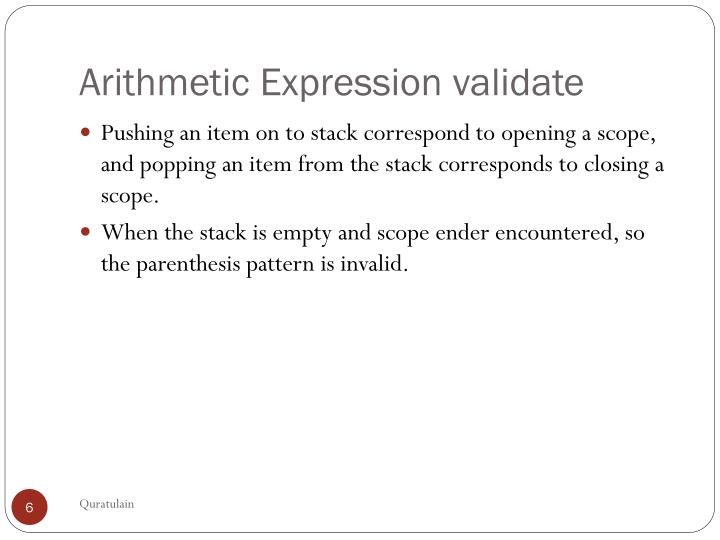 Arithmetic Expression validate