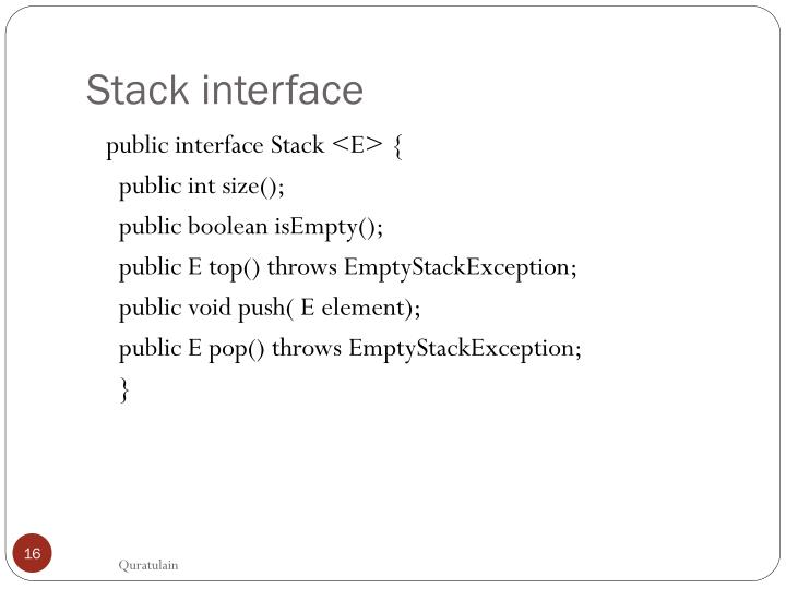 Stack interface