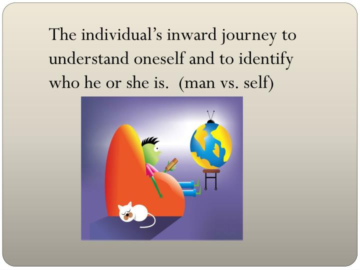 The individual's inward journey to understand oneself and to identify who he or she is.  (man vs. self)