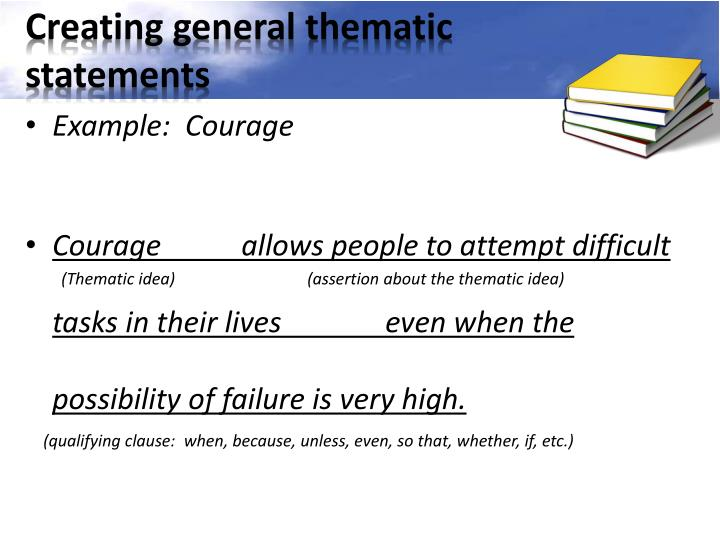 Creating general thematic statements