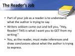 the reader s job