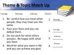 theme topic match up