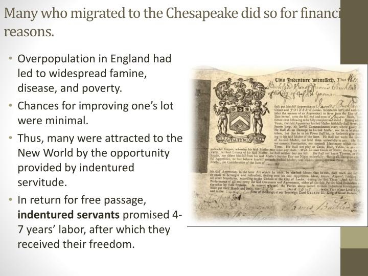 Many who migrated to the Chesapeake did so for financial reasons.