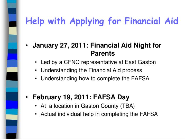 Help with Applying for Financial Aid