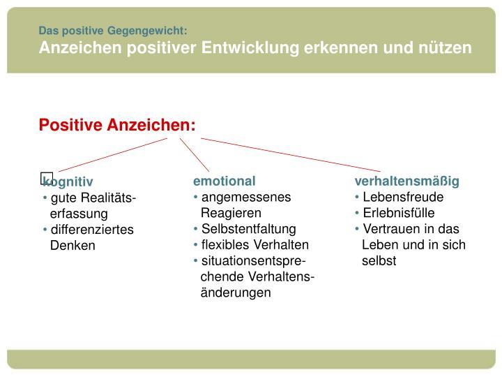 Das positive Gegengewicht: